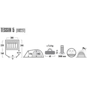 High Peak Tessin 5 Tent Dark Grey/Red